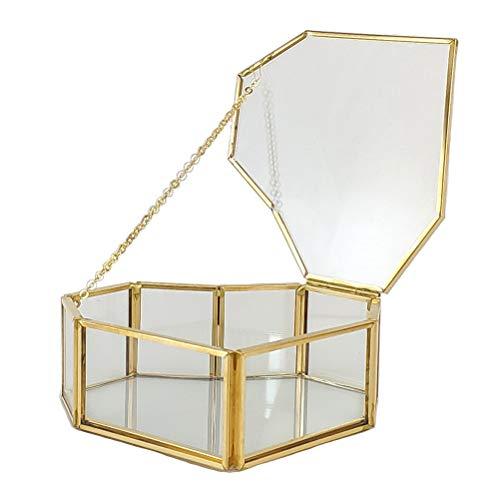Ooscy 1 STÜCK Golden Vintage Schmuck Glasbox , Liebe Klarglas Messing Tone Metall Klappdeckel Terrarium Box/Tischvitrine für Ohrringe, Halsketten, Ringe Golden