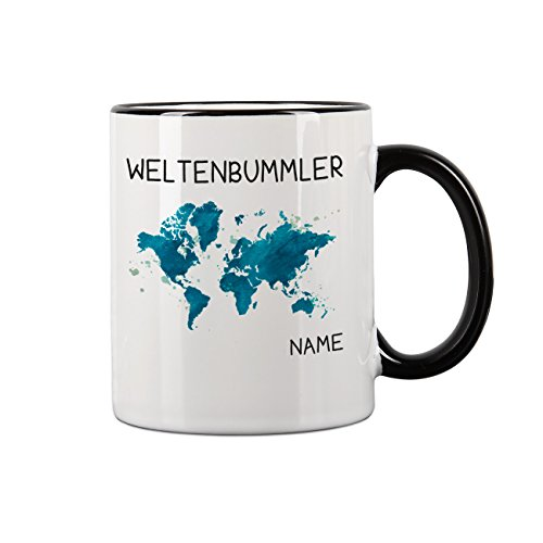 Herz & Heim® Kaffeebecher für Weltenbummler mit Ihrem Wunschnamen