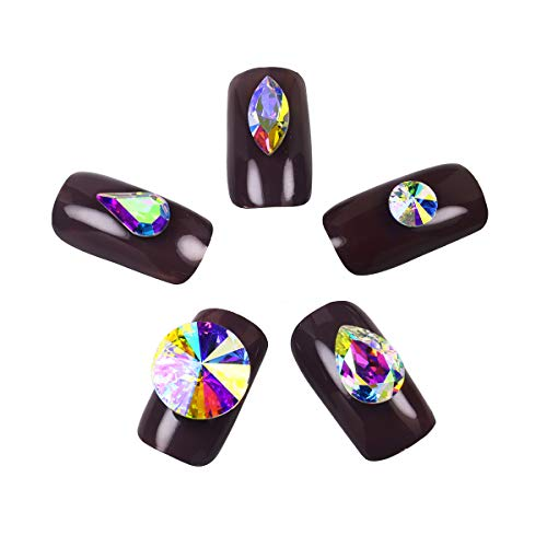 DONGZHOU 3D Crystal AB Rhinestone Nail Art DIY Crafts Crystal Pointed Gemstones Nail Crystals Fancy Glass stone Gems beads For DIY Nails, Crafts(50PCS K9 Best Crystal)