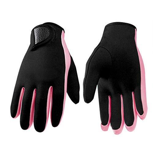 Neoprene Scuba Gloves 1.5MM Non-Slip Wetsuit Deep Diving Gloves Snorkeling Dive Gloves Swimming Gloves Sailing Surfing Under-Water Work Gloves for Women Men (Pink Stripe, M)
