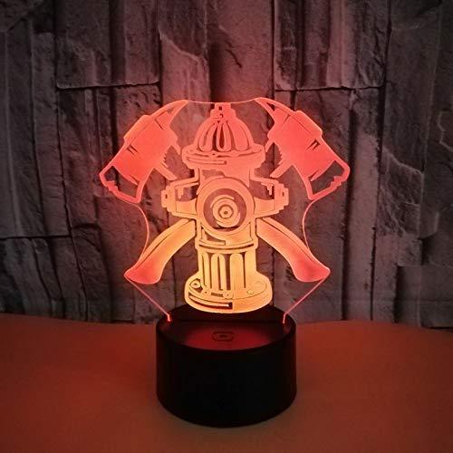 Brandblusser 7 kleurwisselende 3D-LED-licht acryl Touch USB-lamp tafeltje creatief nachtlampje nachtkastje decor