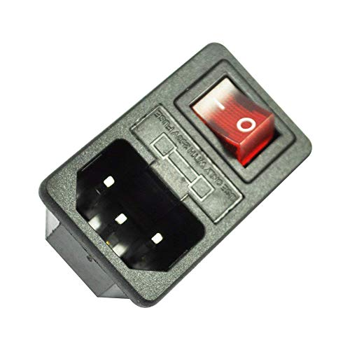 Athemeet AC zócalo de energía de 3 Pines IEC320 C14 Monte portátil Fusible Interruptor sólido Entrada del módulo del Enchufe.