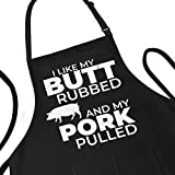 Funny Apron for Men - I Like My Butt Rubbed And My Pork Pulled - Adjustable Large 1 Size Fits All - Poly/Cotton Apron with 2 Pockets - BBQ Gift Apron for Father, Husband, Chef