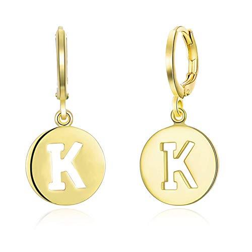 Beydodo Frauen Ohrringe Vergoldet Creole mit Anhänger Buchstabe K Ohrringe Damen Vintage Gold