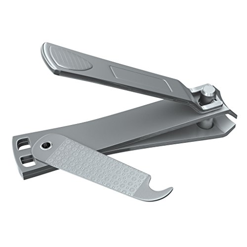 Clyppi Nail Clippers with Swing Out Nail Cleaner/Nail File - Fingernail Clippers/Toe Nail Clippers. Sharp Stainless Steel with Wide Easy Press Lever