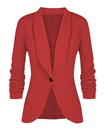 Minetom Mujeres De Marca Americanas Elegante Fiesta Chica 2 Botones Casual Blazers la Pequeña Rojo ES 42