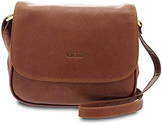 GIUDI ® - Tracolla, Borsa Donna in pelle vitello liscio, vera pelle, Made in Italy (Marrone)