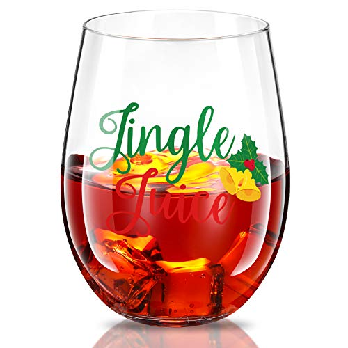 Wine Glass, Christmas Jingle Juice Cups 17 oz Bells Stemless Bottles for Men Women Friends Xmas Party Holiday Wedding Birthday Decoration
