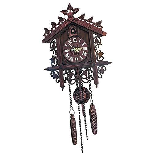 Relógio de parede de quartzo de madeira esculpido à mão Baoblaze para decoração de casa presentes de Natal – Madeira – Madeira escura