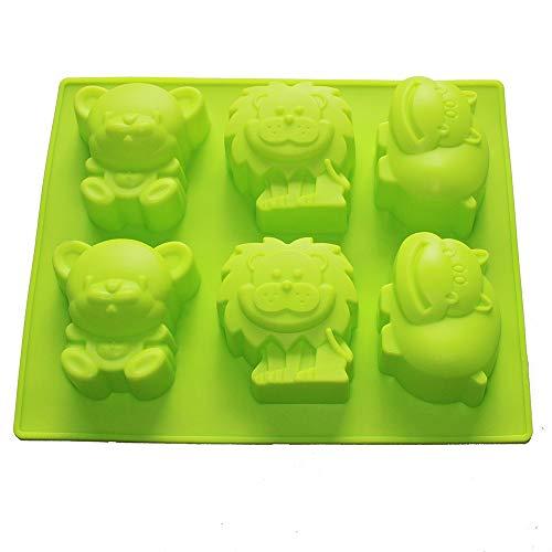 X-Haibei Jungle Zoo Animals Shaped Soap Bar Silicone Mold Chocolate Cake Gelatin Ice Cream Cake Making Supplies 3.5oz per Cell