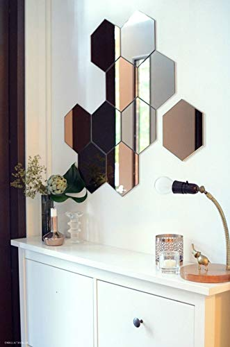 MRPlus 12PCS Hexagon Mirror Wall Stickers, Hexagon Mirror, Mirror Sheet, Mirror Tiles for Wall, Wall Mirror Stickers, Stick On Mirror, Mirror Paper, Mirror Sheets Self Sticking, Shappy Mirror