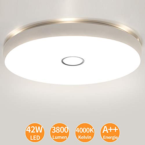 Öuesen LED Deckenleuchte IP44 Wasserdicht Deckenlampe Bad 4000K Rund Wohnzimmerlampe 42W 3800LM Mordern Decke Lampe für Badezimmer, Küche, Feuchtraum, Schlafzimmer