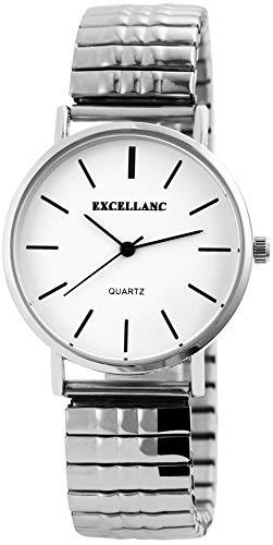 Excellanc Damen - Uhr Weiß Silberfarbig Analog Quarz Metall Zugband Armbanduhr 1700036