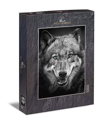 Ulmer Puzzleschmiede - Puzzle Wolf: Puzzle de 1000 Piezas - el Lobo Gris como Retrato Animal