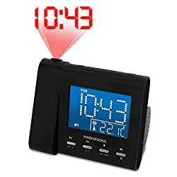Magnasonic Projection Alarm Clock with AM/FM Radio, Battery Backup, Auto Time Set, Dual Alarm, Nap/Sleep Timer, Indoor Temperature/Date Display with Dimming & 3.5mm Audio Input - Black (EAAC601)