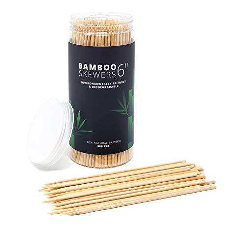 "300 pack 6"" bamboo skewers, bbq skewers, shish kabob skewers, meat sticks, chocolate dipping tool, appetizer picks, cocktail picks, wooden skewers for chocolate melts, toothpicks for appetizers"