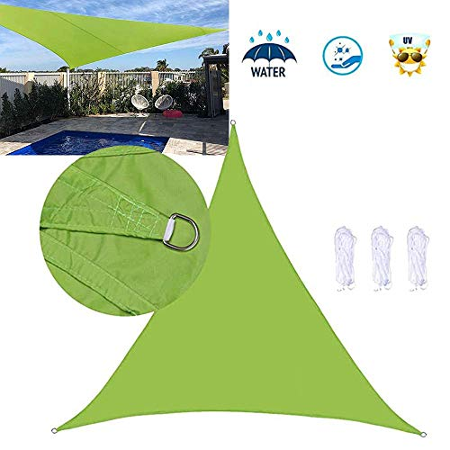 Dalovy Garden Sun Shade Sail Breathable HDPE Sunscreen Awning Canopy for Outdoor Patio Yard Party UV Block - Triangle, 6x6x6m, Green