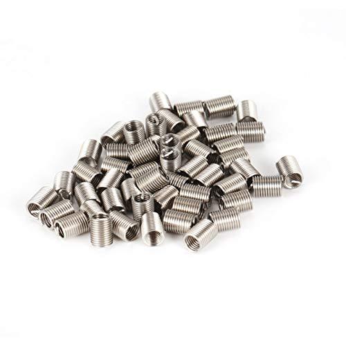 50 piezas insertos roscados M6 1.0 2.5D alambre de acero inoxidable sujetadores Helicoil herramientas de reparación de hardware conjunto de manguito de tornillo - plata