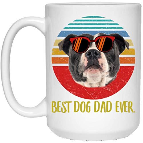 N\A Funny Best Staffordshire Bull Terrier marrón Oscuro papá Siempre Puesta de Sol Retro Taza de café