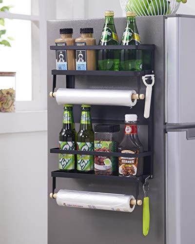 KAKIBLIN Magnetic Spice Rack, 2 Tier Refrigerator Organizer Spice Rack with...
