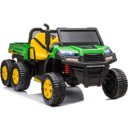 sopbost 12V 2-Seater Ride On Car with Remote Control Ride On Truck for Kids with Working Dump Bed Battery Powered Ride On Toys Car 6 Wheels, Bluetooth, Music Play, Grass Green