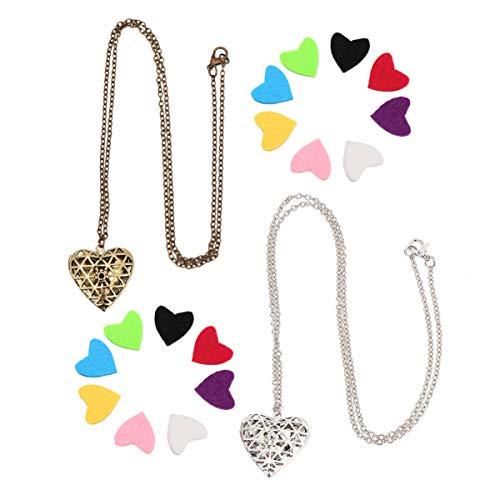 Artibetter 2 Sets Collar de Aromaterapia Difusor de Aceites Esenciales Collar Colgante de Corazón Collares para Damas Mujeres Mujeres