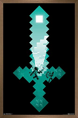 Trends International Minecraft - Diamond Sword Wall Poster, 14.725' x 22.375', Bronze Framed Version