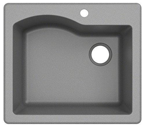 Kraus KGD-441GREY Quarza 25-inch Drop-In Single Bowl Granite Kitchen Sink, Gray