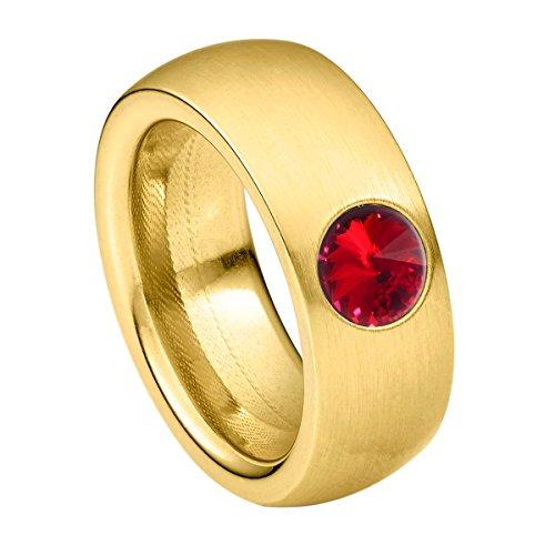 Heideman anillos mujer de acero inoxidable color oro mate anillo mujer con piedra roja