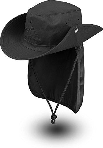 normani Buschhut Outdoor Schlapphut Outback mit abnehmbarem Nackenschutz Farbe Schwarz Größe XXL/63