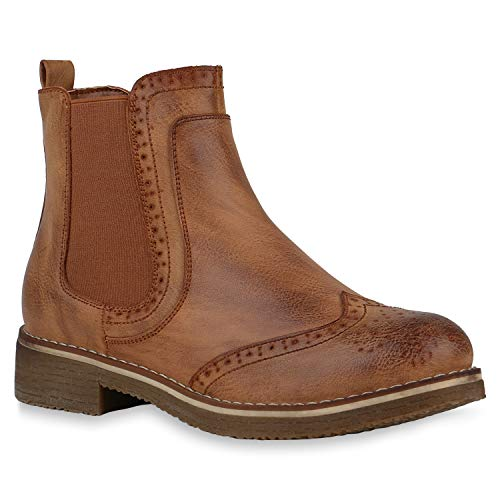 stiefelparadies Damen Stiefeletten Chelsea Boots Leicht Gefütterte Booties Leder-Optik Schuhe Profilsohle 145835 Hellbraun Cabanas 40 Flandell