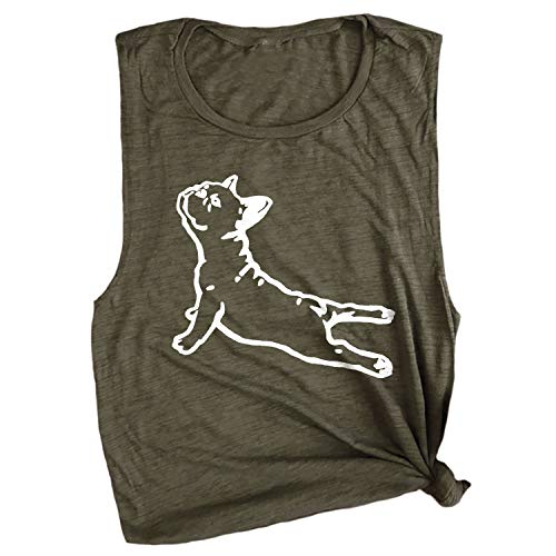 Spunky Pineapple DOGA Frenchie French Bull Dog Funny Yoga Workout Muscle Tee Olive