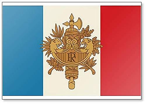 Symbol Frankreichs. National Emblem Kühlschrankmagnet, Motiv: Französisches Wappen & Flagge