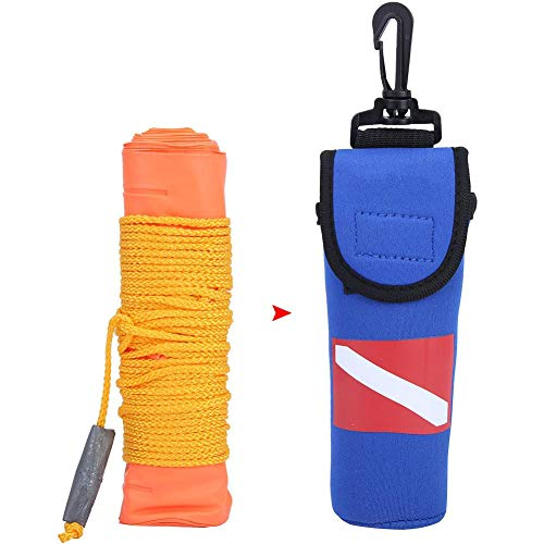 Tbest Tauchboje Signalboje 1,4 m Mini-PVC Hochsichtbare Markierungsboje Aufblasbares schwimmboje Tauchen-Oberflächen Tauchen Boje Surface Marker zum Tauchen/Apnoe/Speerfischen/Schnorcheln
