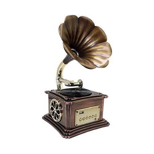 LKNJLL Reproductor de grabación de fonógrafo retro con altavoz Bluetooth, aux-in, puerto USB para la unidad flash, placa giratoria de gramófono vintage para decoración del hogar (con jugador de regist