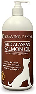 Craving Canine Salmon Oil For Dogs- Less Shedding & Licking! Omega 3 Fish Oil Great For Pill-Spitting Dog! Vitamin E Oil T...