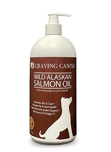 Craving Canine Salmon Oil For Dogs- Less Shedding & Licking! Omega 3 Fish Oil Great For Pill-Spitting Dogs! Vitamin E To Reduce Skin Flakiness! Best Fish Oil For Dogs Needing Coat Improvement! (32 oz)