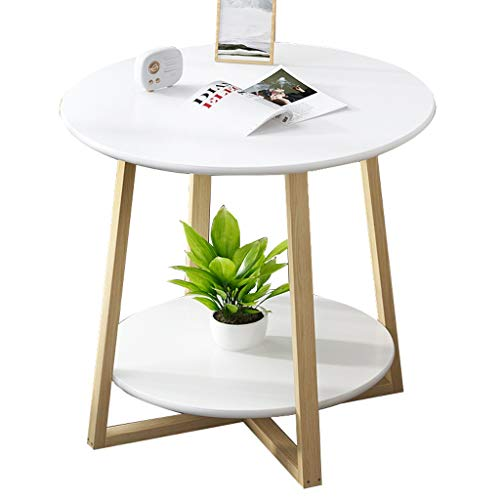 FSAQ Small Coffee Table,Bedside Table Sofa Side Table Round Table for Small Apartment Living Room (Color : White, Size : 50 * 50CM)