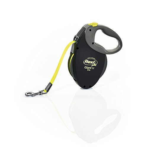 FLEXI Giant Medium Retractable Dog Leash (Tape), 26 ft, Medium, Black/Neon