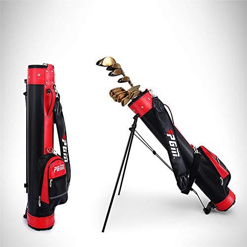 AKOZLIN ゴルフ クラブケース 9本収納 セルフスタンド キャリー クラブ ケース スタンド式クラブケース フード&大型ポケット付きゴルフバッグ 超軽量 低重心 安定感抜群 簡単 便利 2020年最新版 ブラック&レッド