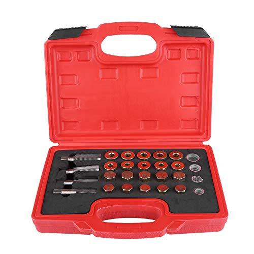 Kit de reparación de roscas de cárter de aceite, Yctze 64 piezas Kit de reparación de roscas de cárter de aceite Juego de herramientas de tapón de drenaje de caja de cambios de sumidero M13 M15 M17 M2
