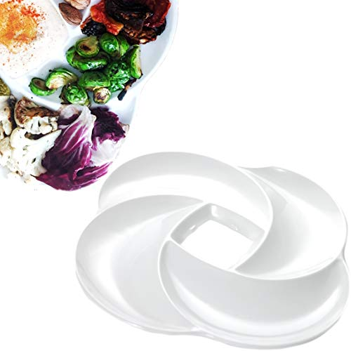 VALLENWOOD: Ecology Reusable Non Disposable White Veggie Tray for Partys. 100% A Grade Melamine Quality Not Plastic. Appetizer Sectioned Platter. Ideal for Vegetables and Fruits. (1)