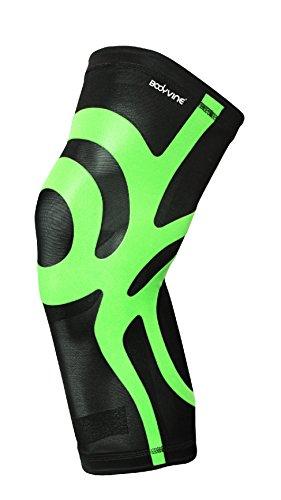 BODYVINE Unisex– Erwachsene Ultrathin Compression Plus Kompressions Knie Bandage mit Power-Band Stabilisator Tape, Grün, L