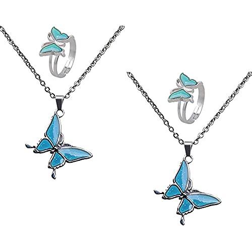 chaosong shop 2 piezas de cambio de color de estado de ánimo Emoción Emotion Emotion Set de joyería collar regalos