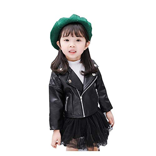 aiyu Chaqueta de piel sintética para bebé, niña, abrigo de manga larga, ropa para el exterior, abrigo de piel, chaqueta para bebés, ropa de estilo casual (color: negro, talla kid 4T)