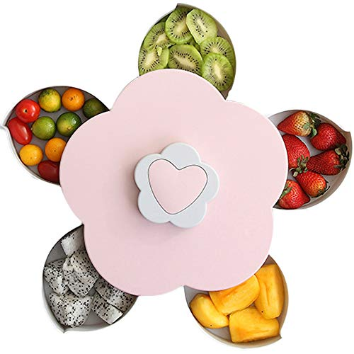 Petal-Shape Rotating Snack Box 5 Grids Switch Dried Fruit Candy Storage Box with Phone Holder (Pink)