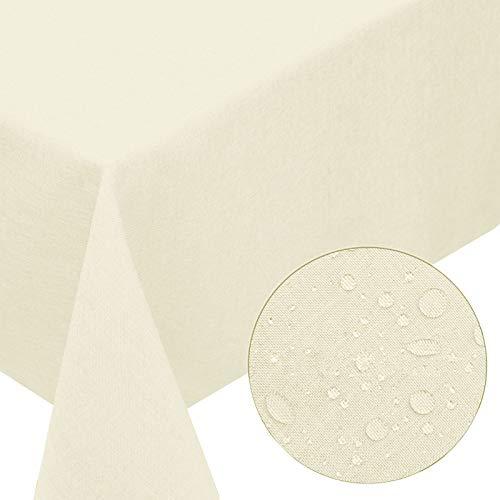 Textil Tischdecke Leinen-Optik 130x220cm eckig mit Fleck-Schutz Champagner *trocknergeeignet* Farbe wählbar