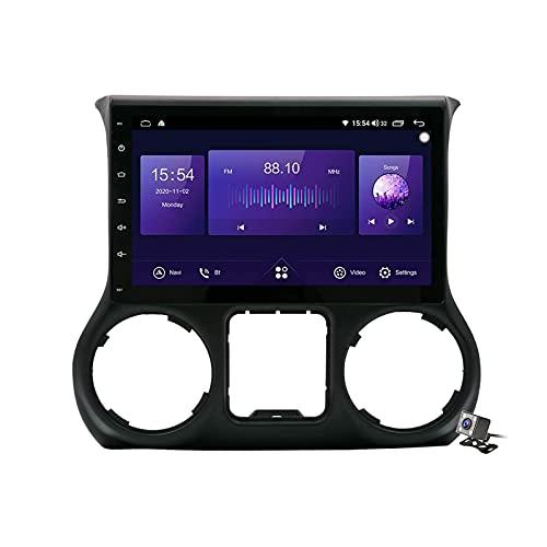 Android 10.0 Car Stereo Sat Nav Radio para Jeep Wrangler 3 JK 2010-2018 Navegación GPS 2 DIN 10.1 '' Unidad Principal Reproductor Multimedia MP5 Receptor de Video con 4G FM DSP WiFi SWC Carplay