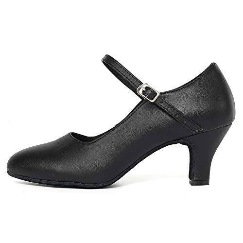 JUODVMP Damen Tanzschuhe Charakter Schuhe Damen Latein Salsa Rumba Ballroom Glattleder Tanzschuhe,Modell YCL042,Schwarz-6CM Heel-38 EU