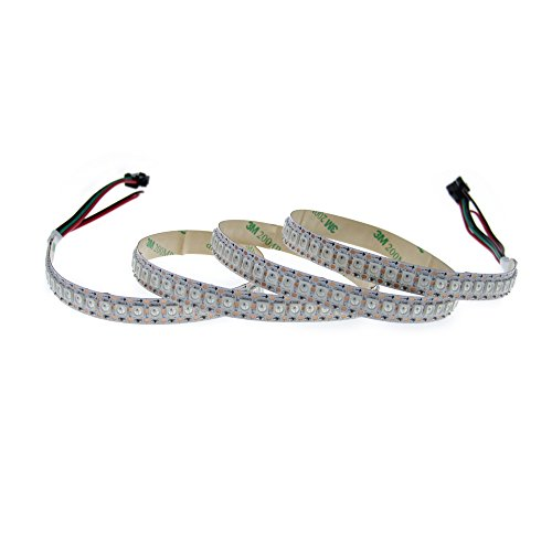 ALITOVE WS2812B Individually Addressable LED Flexible Strip Light 3.2ft 144 LED Pixel 5050 RGB SMD Not Waterproof White PCB 5V DC